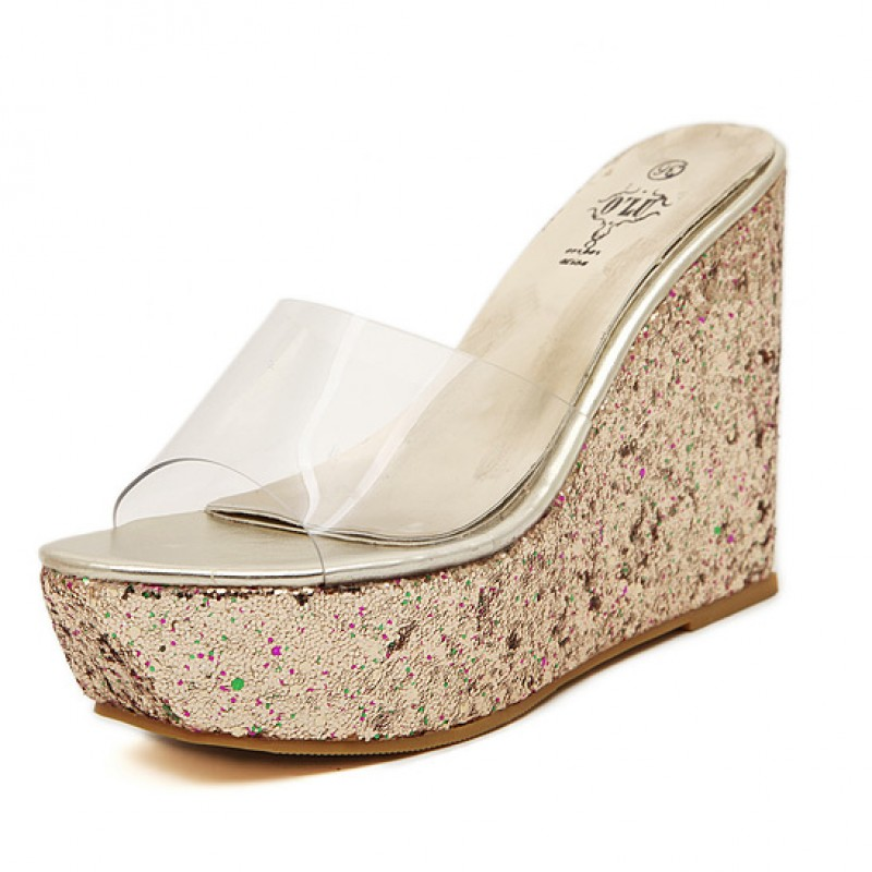 cd21980ef5c1b Gold Glitter Bling Bling Sparkles Platforms Wedges Transparent Sandals Shoes