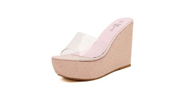 16d25d90cead28 Pink Glitter Bling Bling Sparkles Platforms Wedges Transparent Sandals Shoes