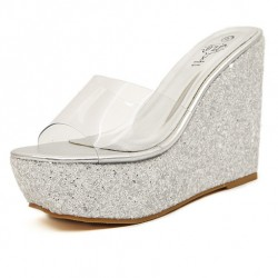 Silver Glitter Bling Bling Sparkles Platforms Wedges Transparent Sandals Shoes