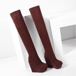 Brown Suede Long Knee Platforms Wedges Boots Shoes