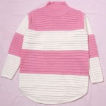 Pink White Rainbow Pastel Macaron Turtleneck Long Sleeves Sweater Sweatshirt