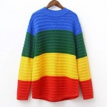 Rainbow Turtleneck Long Sleeves Sweater Sweatshirt