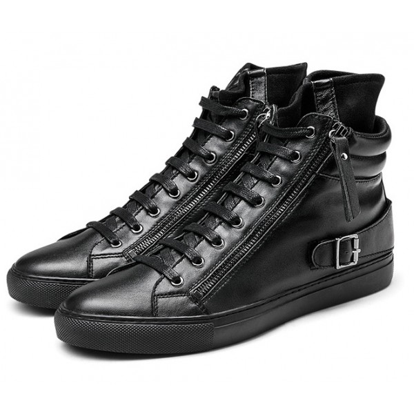 Black High Top Side Zipper Punk Rock Sneakers Mens Shoes