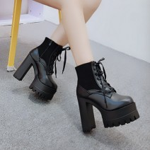 Black Lace Up Cleated Sole Block High Heels Platforms Boots Shoes