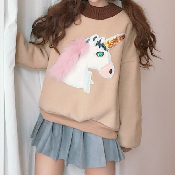 Khaki Cream Cute Unicorn Long Sleeves Sweatshirt