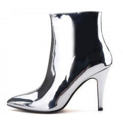 Silver Metallic Mirror Shiny Point Head Stiletto High Heels Ankle Boots Shoes