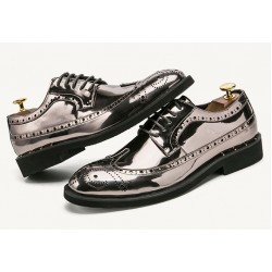 Silver Grey Mirror Metallic Shiny Baroque Lace up Dappermen Mens Oxfords Shoes