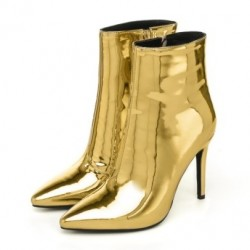 Gold Metallic Mirror Shiny Point Head Stiletto High Heels Ankle Boots Shoes