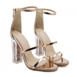 Gold Shiny Mirror Thin Straps Bridal Glitter High Heels Sandals Shoes