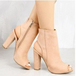 Khaki Suede Peep Toe Slingback High Heels Ankle Boots Shoes