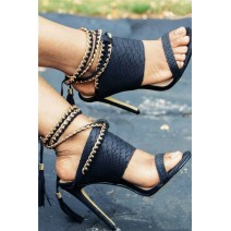 Black Gold Metal Chain Tassels Straps Stiletto High Heels Sandals Shoes