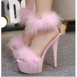 Pink Feather Fur Flurry Sexy Platforms Super High Stiletto Heels Sandals Shoes