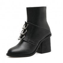 Black Blunt Head Metal Rings Ankle High Heels Rider Boots Shoes