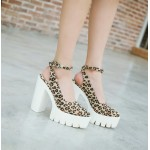 Khaki Leopard Suede Point Head Chunky Cleated Platforms Sole Block High Heels Shoes