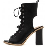 Black Peeptoe Lace Up  High Top Punk Rock Ankle HIgh Heels Boots Sandals