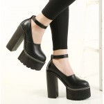 Black Chunky Cleated Platforms Sole Block High Heels Shoes