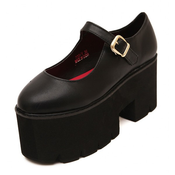 Black Mary Jane Chunky Cleated Platforms Sole Flats Shoes