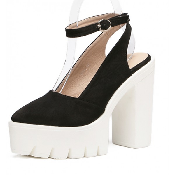 Black Suede Point Head Chunky Cleated Platforms Sole Block High Heels Shoes