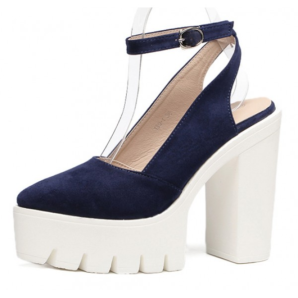 Blue Navy Suede Point Head Chunky Cleated Platforms Sole Block High Heels Shoes