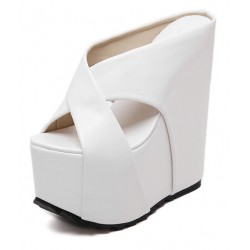 White Cross Straps Platforms Wedges Sandals Shoes