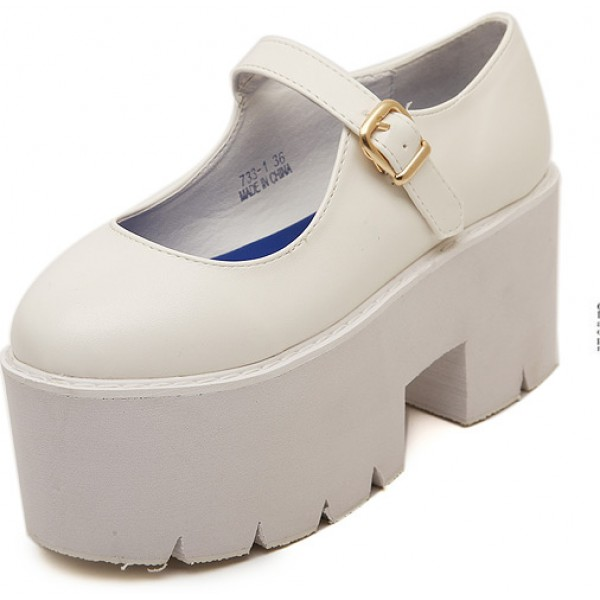 White Mary Jane Chunky Cleated Platforms Sole Flats Shoes
