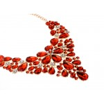 Red Colorful Fancy Crystals Gemstones Glamorous Flowers Floral Necklace