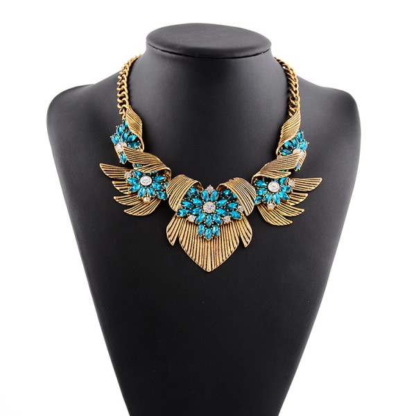 Gold Wings Blue Bohemian Gemstones Diamante Glamorous  Necklace