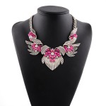 Gold Wings Pink Bohemian Gemstones Diamante Glamorous Necklace