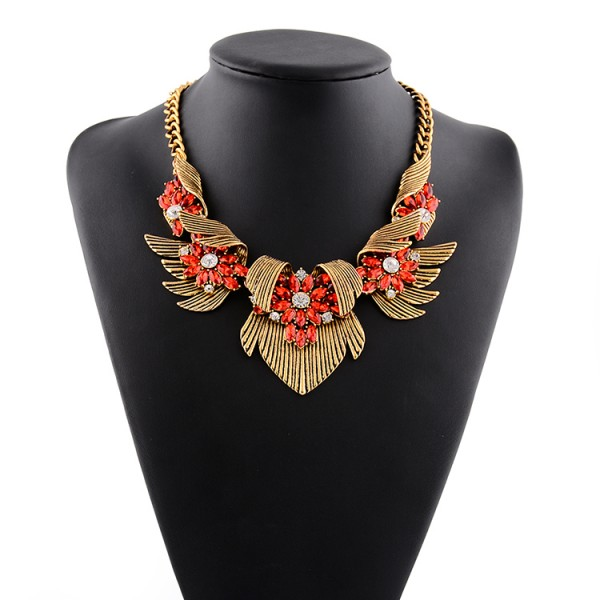 Gold Wings Red Bohemian Gemstones Diamante Glamorous Necklace
