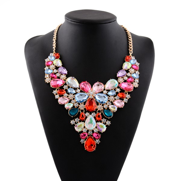 Rainbow Colorful Fancy Crystals Gemstones Glamorous Flowers Floral Necklace
