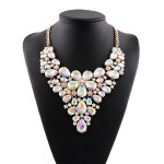 Silver Colorful Fancy Crystals Gemstones Glamorous Flowers Floral Necklace