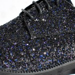 Black Glitter Sparkle Bling Bling Lace Up Oxfords Mens Dress Shoes