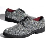Silver Glitter Sparkle Bling Bling Lace Up Oxfords Mens Dress Shoes