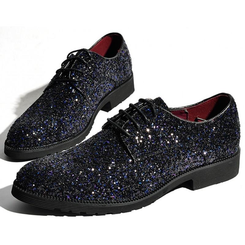 Black Glitter Sparkle Bling Bling Lace Up Oxfords Mens Dress Shoes