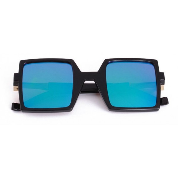 Blue Black Sqaure Rectangular Polarized Mirror Lens Sunglasses
