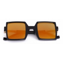 Orange Black Sqaure Rectangular Polarized Mirror Lens Sunglasses