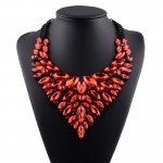 Red Crystals Vintage Glamorous Diamante Bohemian Ethnic Necklace