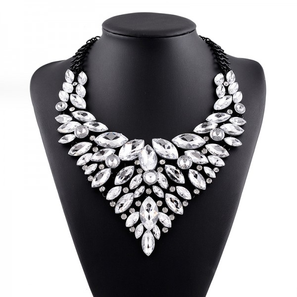 Silver Crystals Vintage Glamorous Diamante Bohemian Ethnic Necklace