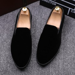 Black Velvet Mens Oxfords Flats Loafers Dress Shoes