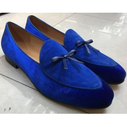Blue Royal Velvet Mens Oxfords Flats Loafers Dress Shoes