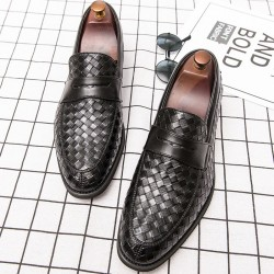 Black Knitted Leather VIntage Mens Oxfords Loafers Dress Shoes Flats