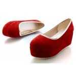 Red Velvet Suede Platforms Ballets Ballerina Flats Loafers Shoes