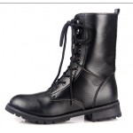 Black Lace Up High Top Military Combat Boots