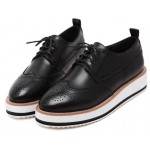 Black Leather Lace Up Baroque Platform Oxfords Shoes Sneakers