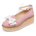 Pink White Bow Platforms Ballets Ballerina Wedges Lolita Flats Loafers Shoes