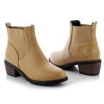 Khaki Leather Punk Rock Ankle Chelsea Boots Shoes