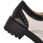 White Black Patent Leather Lace Up Platforms Oxfords Shoes