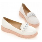 White Pink Pastel Chain Ballets Ballerina Flats Loafers Shoes