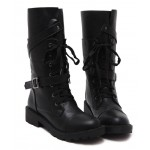 Black Lace Up Long High Top Military Combat Boots