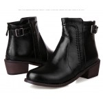Black Leather Punk Rock Ankle Cosplay Chelsea Boots Shoes